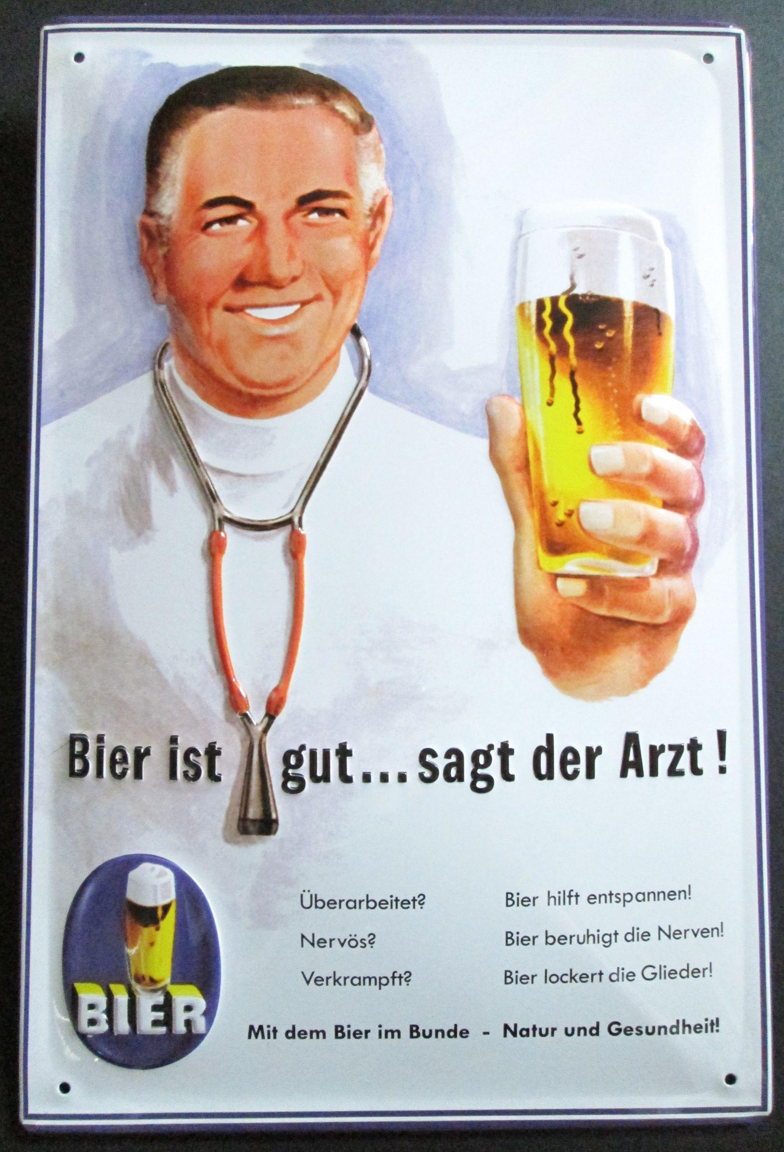 bier ist gut sagt der arzt blechschild mit pr196gung