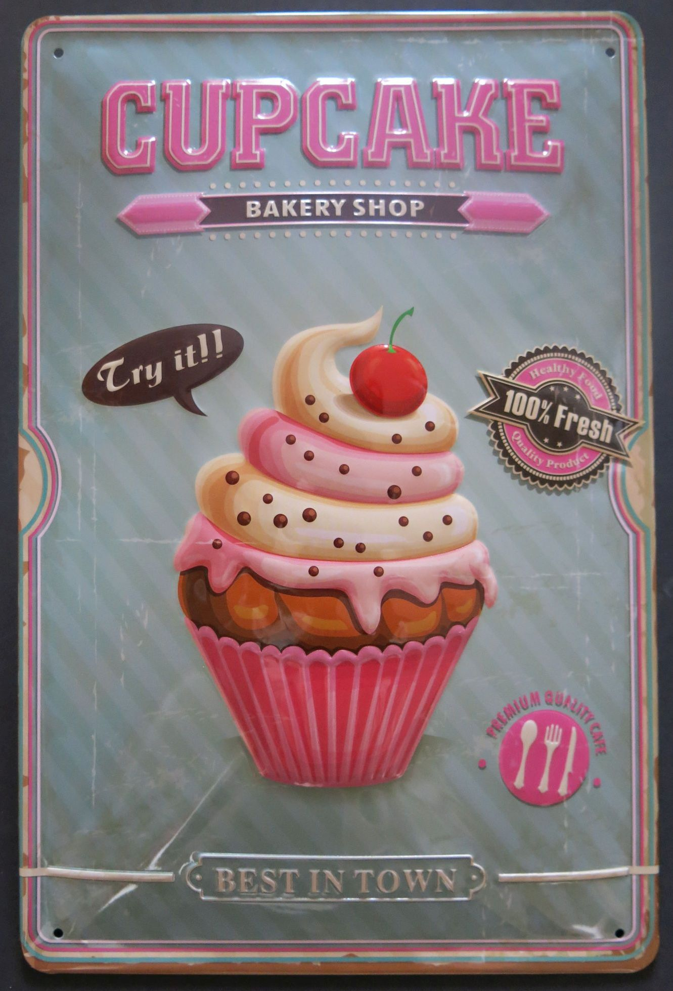 cupcake blechschild retro stil der 50er k che muffins ebay. Black Bedroom Furniture Sets. Home Design Ideas