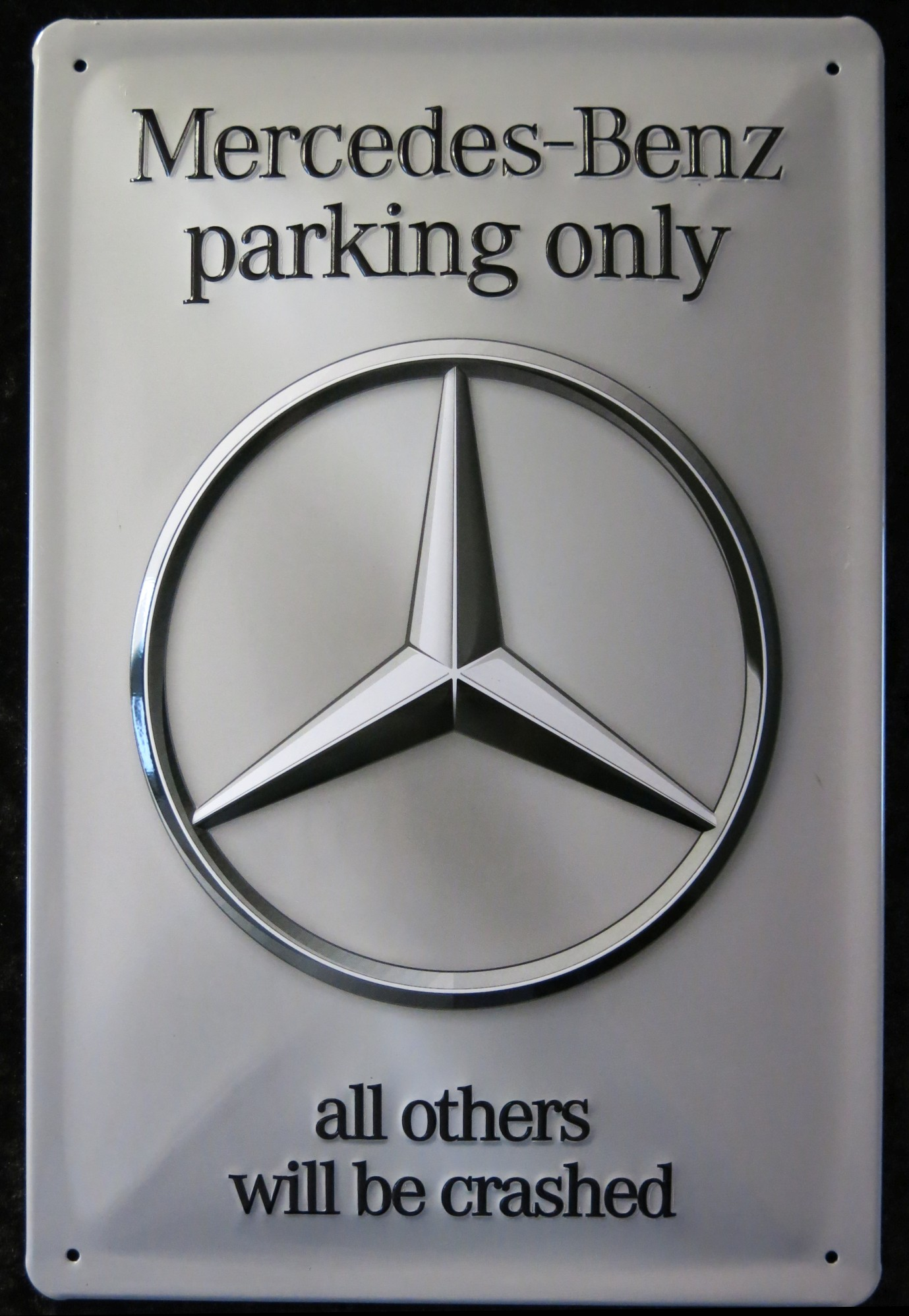 Mercedes benz parking only metal sign ebay for Mercedes benz sign in