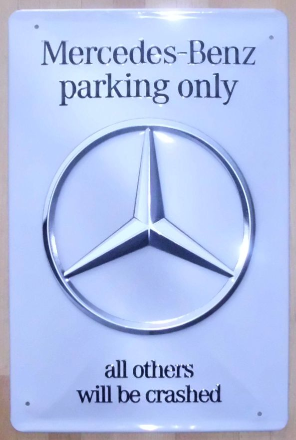 Mercedes benz parking only tin sign ebay for Mercedes benz sign in